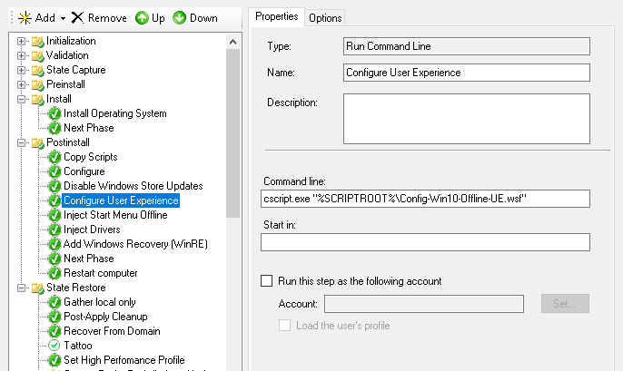 Windows 10 Configure User Experience Offline - MDT SCCM OSD